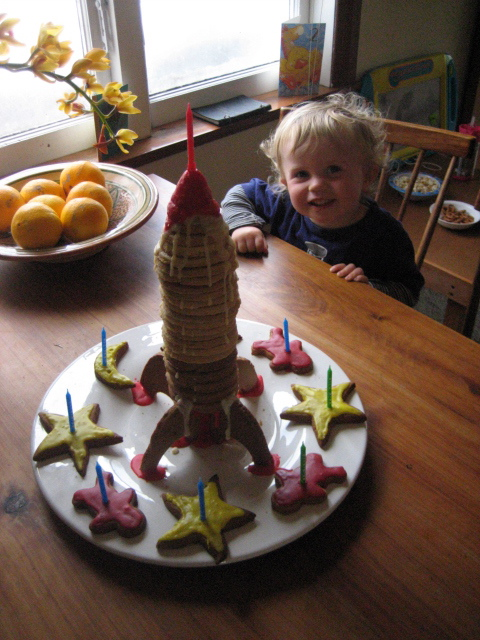 Outstanding Bens Radical Rocket Ship Cookie Tower For His Flynns 2Nd Birthday Funny Birthday Cards Online Overcheapnameinfo